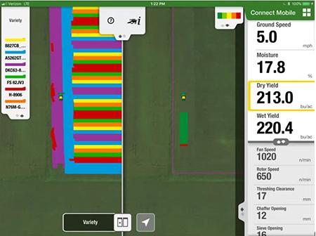 La vista en pantalla dividida de Connect Mobile permite a los usuarios comparar la capa de siembra anterior con la capa de cosecha actual, con lo que el operador comprende al instante el rendimiento de variedad