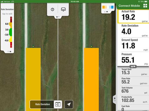 La vista en pantalla dividida de Connect Mobile permite a los usuarios comparar dos capas de calidad simultáneamente para la siembra y la pulverización