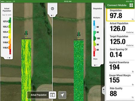 La vista en pantalla dividida de Connect Mobile permite a los usuarios comparar dos capas de calidad simultáneamente en cualquier tarea