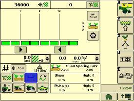 Página de ejecución de la sembradora de SeedStar XP de espaciado de semillas