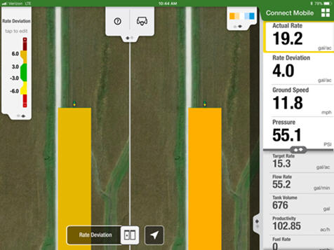 Connect Mobile split-screen view lets users compare two quality layers at once for planting and spraying