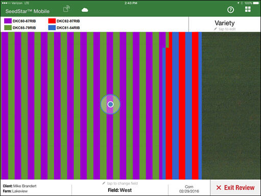Variety map in field review; the blue dot is showing the current location of the iPad™ tablet in the field