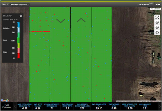 SeedStar™ Mobile planting data shown in Job Monitor within the John Deere Operations Center