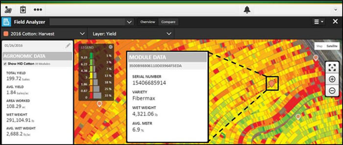 Round module information displayed in John Deere Operations Center Field Analyzer