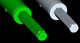 Premium hexagon 32-mm (1.3-in.) shaft and standard hexagon 28-mm (1.1-in.) shaft