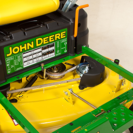 Footrest opens for access to mower deck