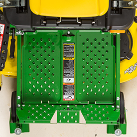 Footrest easily removed for access to mower (Z335E shown)