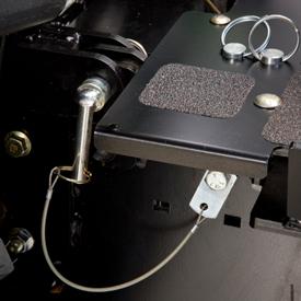 Storage for the locking pins on platform