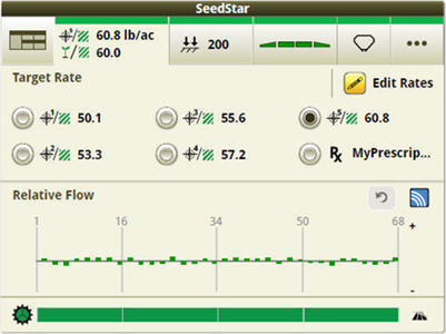 SeedStar run page showing four sections and prescription (Rx) seeding