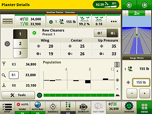 4600 CommandCenter™ Display and 4640 Universal Display view for row cleaners compatible with SeedStar 4HP