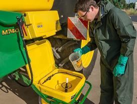55-L chemical inductor hopper makes filling easy (optional)