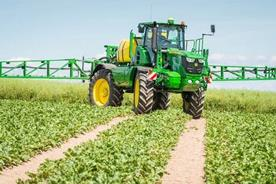 Four-wheel steering for easy field access limits crop damage