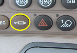 Hydraulic shortcut button on right-hand console