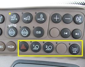 Beacon lights/hazard warning lights, work light 1 and 2 location on right-hand console