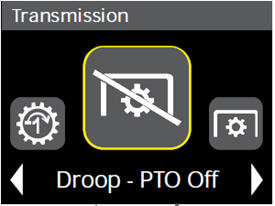 Load control droop (power take-off [PTO] on) settings in cornerpost display