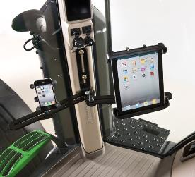Mounting bracket with cell phone and tablet mount