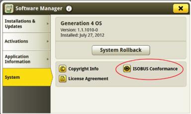 A página do sistema Geração 4 inclui informações sobre a compatibilidade ISOBUS