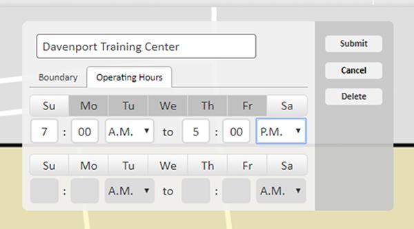 Configuração de alertas de limite de horário de funcionamento
