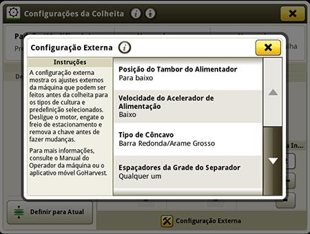 O ícone {i} fornece mais informações para o operador