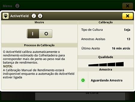 Tela de calibração do ActiveYield