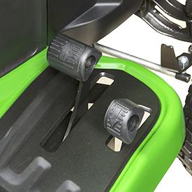 Controles de velocidade/sentido de pedal duplo hidrostático/automático