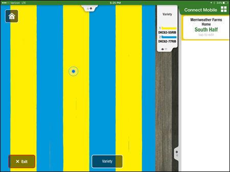 Carte des variétés dans FieldReview; le point bleu représente l'emplacement actuel de la tablette iPad® dans le champ