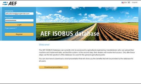 Page d'inscription et de connexion de la base de données de l'AEF — l'utilisateur peut créer un compte et vérifier la compatibilité de produits.