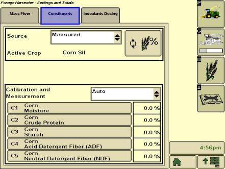 Afficheur GreenStar™32630 montrant la mesure des composants de récolte