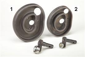Came de rabatteur et bras de came des rotopressesPremium(1); came de rabatteur et bras de came des modèles de la série9(2)