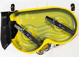 Dessous du corps de tondeuse42A (corps de tondeuse comparable sur un tracteur de la sérieX300 illustré)