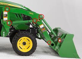Axes d'articulation du modèle120R illustrés