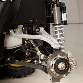 Gros plan sur la suspension arrière du véhicule RSX