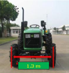 四轮驱动拖拉机可选装 1.3 米轮距(地隙 300 mm )