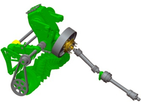 Einfache Konstruktion der Antriebswelle mit Schutz durch Nockenkupplung