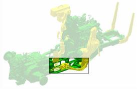 Platzierung der Ventile unterhalb der Kabine von Traktoren der Serie 5M