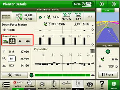 Sämaschinenfunktionsseite des SeedStar 4HP zum Anpressdruck