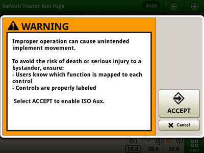 Warnmeldung vor der Aktivierung der ISO-Zusatzfunktionen für den elektrischen Joystick