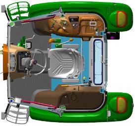 Die Abbildung zeigt den komfortablen Fahrerarbeitsplatz am 5058E, 5067E und 5075E