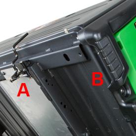 Integrierter Griff (B) und Riegel (A)