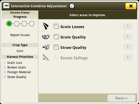 Ajuste de cosechadora interactivo