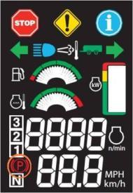 Indicación del freno de estacionamiento en la pantalla digital del poste derecho