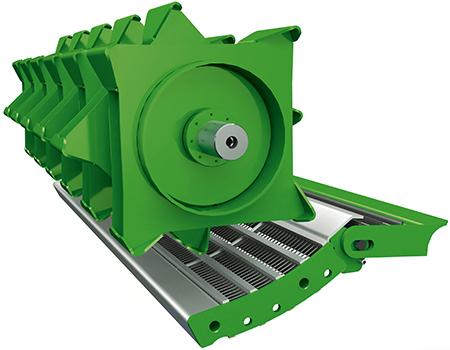El cilindro de pretrilla (PTC) está disponible para cosechadoras de cinco y seis sacudidores