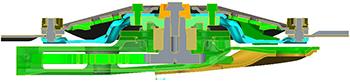 Vista seccionada del módulo de discos mostrando la ballesta (pieza azul)