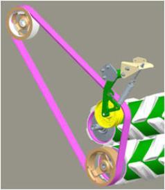 Transmisión por correa (lado izquierdo de los rodillos), amarillo: brazo tensor