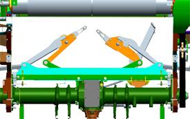 Dos brazos con sistema de corte de hilo situado en el centro de la paca