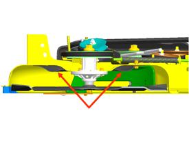 Las flechas señalan el componentes del conjunto mulching