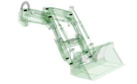 Posición de los puntos de articulación de la pala cargadora