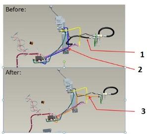 Imagen de la modificación del conjunto de elevación independiente con el conjunto de toma exterior hidráulica, antes y después