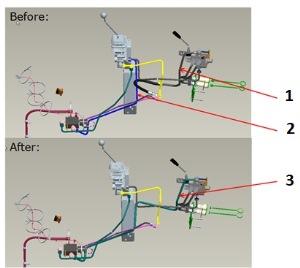Imagen de la modificación del conjunto de elevación independiente con el conjunto de tercera VMD, antes y después