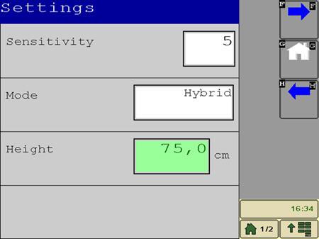 El modo de funcionamiento, la sensibilidad y la altura de la barra de pulverización se ajustan en la página de Configuración